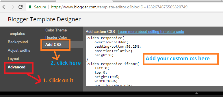 add css in blogger