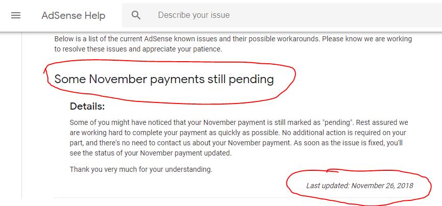 adsense payment pending november