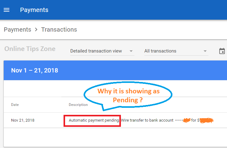Automatic payment pending Adsense | Solved