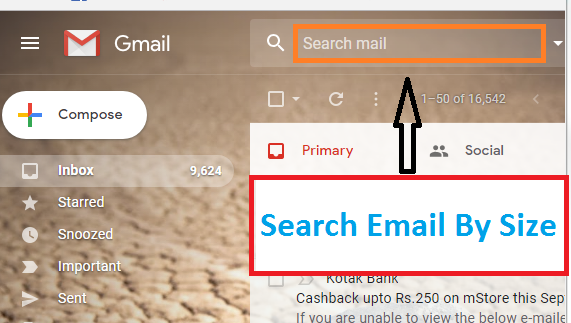 How to do Gmail search by size