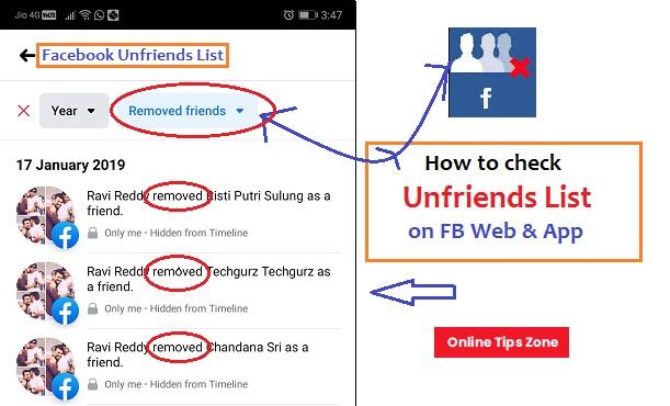 unfriends list in facebook