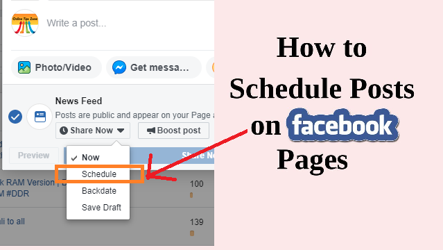 How to Schedule post on Facebook page