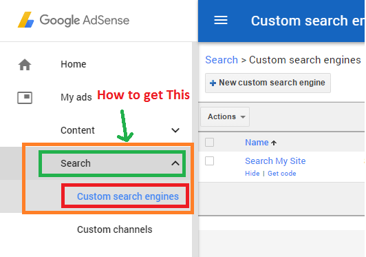 create custom search engine in adsense